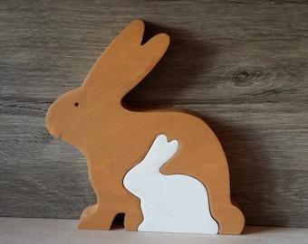 Rabbit in wood, child's puzzle.