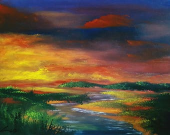 """Summer Oil Painting Landscape Print, 8.5""""×11"""" print -Fire in the Sky-"""