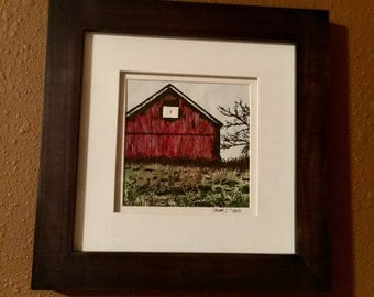 Countryside Barn Watercolor & Ink Painting