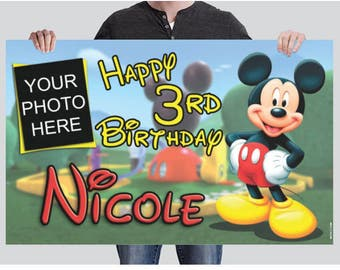 BANNER - Mickey Mouse Banner, Birthday Banner