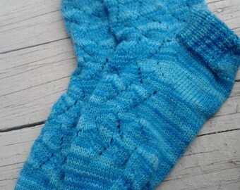 Blue Yonder Hand Knit Lace Socks