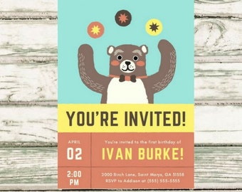 Custom Bear Birthday Party Invitation, Kids Birthday Party Invitation, Printable Birthday Invitation, PDF Digital File, Party Invitation