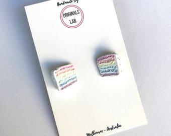 Rainbow Cake Earrings - A Sweet and Colourful International Classic Cake