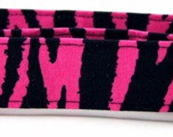 Hot Pink Zebra Adjustable Handmade Cotton Dog Collar