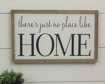 No Place Like Home Sign, Rustic Home Sign, Wood Home Sign, Housewarming Gift, New Home Gift, First Home Gift, Framed Wood Sign, Wood Sign