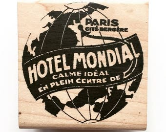 New Vintage Hotel Label/Ad Wood Mounted Stamp