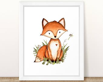 Fox Nursery Art. Printable Fox Art. Woodland Fox Nursery Print. 8x10 Watercolor Fox Print. Forest Nursery Print. Fox Nursery Printable. Fox.