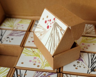 12 small gift boxes in a bigger gift box, Original decorated cardboard gift box set, Natural motif gift boxes in lime, purple, beige and red