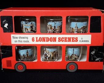 Londen Shot glazen 6 beelden glaswerk Rack rode dubbeldekker Souvenir originele doos door Clandrill Hallmark 1960s Boulevard Vintage