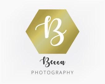 Premade Logo Design - Gold Hexagon Monogram Geometric Logo