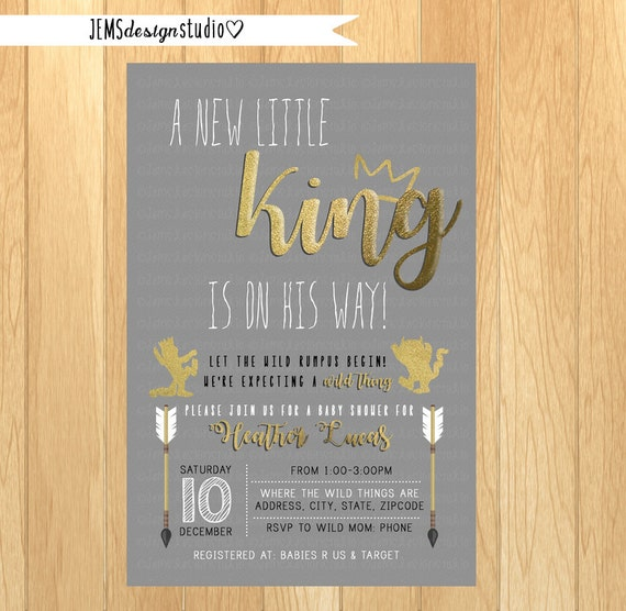 where the wild things are baby shower invitation