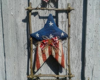 Patriotic Heart Door Hanger - Primitive Door Decor - Front Door Decor - Old Glory - Star Flag Hanger - Primitive Decor - Americana Decor -