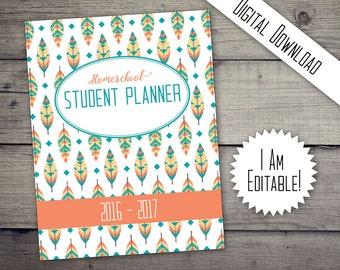 Homeschool Planner, Student Planner, 2017 Planner, Printable, Printable Planner, Printable Organizer, Edit Planners, Teens,DIGITAL DOWNLOAD