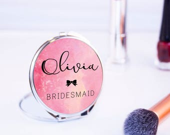 Personalised Pretty Watercolour Round Compact Mirror - Women's Accessories - Beautiful Bridesmaid Pocket Mirror - Mother's Day Gifts