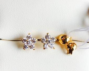 Solid 22k gold 916 gold cz stones flower earrings earstuds