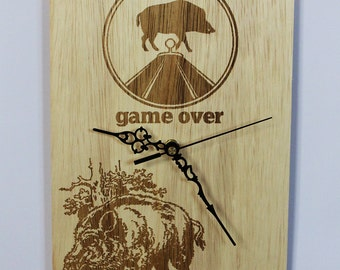 Wooden wall clock '' Hunting Wild boar '' Gift for Hunter, Gift for men, gift for husband, gift for birthday, gift for boyfriend birthday