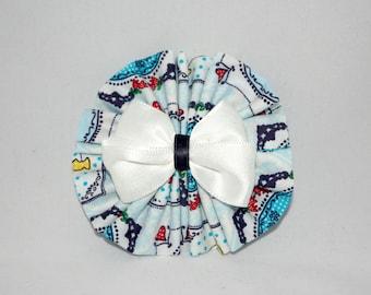 Kawaii Handmade Little Rosette hairbow. Delft blue fabric.