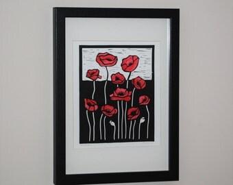 Red Poppies, Lino Cut Original Relief Print