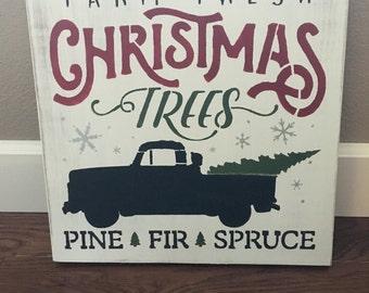 Rustic Christmas Sign, Farm Fresh Christmas Trees