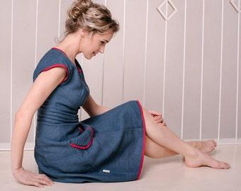 Linen belle blue dress/dress with sneakers/multi wear dress/every day dress/swing dress