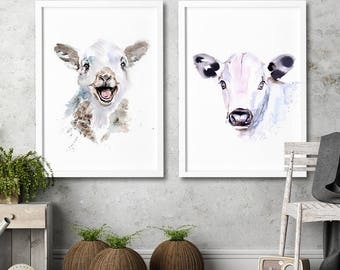 Nursery Lamb and calf wall art Set of 2 art prints Watercolor painting Animal illustration children room kids home decor nursery home decor
