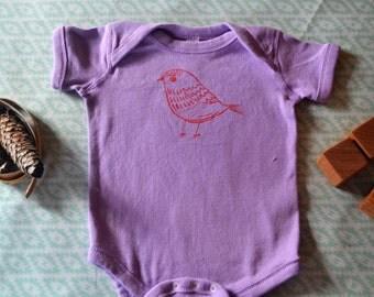 Purple Baby Onesie with Bird: 12 months