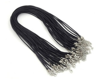 wholesale 100pieces 2.0mm Black & Brown genuine necklace cords ---for length 20-22inches