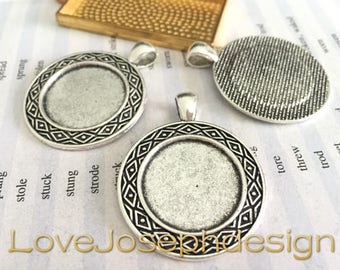 wholesale 20 Pieces /Lot Antique Silver & Bronze Plated 22mm (inner side) cabochon trays charms