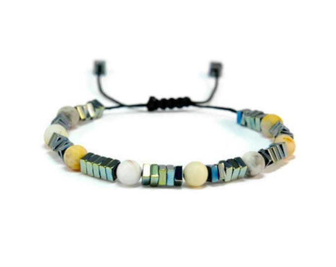 Boho Spark * Agate & Hematite Boho Style Pull - Tie Bracelet