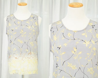Delicate floral blossom top   vintage 1990s silk blouse   90s ombre top   100% silk   pale blue cream sleeveless   size medium