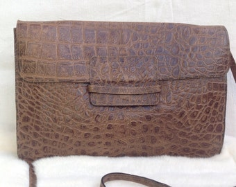 70s Vintage pouch | Shoulderbag vintage | Leather pouch | printed Crocodile Pouch | 70s leather Pouch