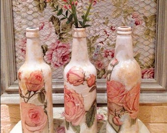 Vintage Rose decoupage bottle lamp/bud vase