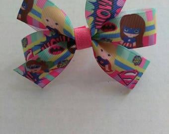 character hair bows, pink hair bows, birthday bows, girl super hero bows, super hero party favors, kid super hero's