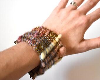 SONIA // Bracelet - Arcadia Collection // handwoven textile, genuine leather // by THREADBARREN