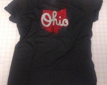 Ohio State Outline Glitter Ladies Womens Cut Tee T-Shirt - Buckeyes
