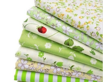 8 coupons fabric patchwork Cotton sewing 40 x 50 cm green 250217