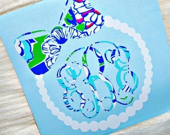 Bow And Pearls Monogram Vinyl Decal - Lilly Pulitzer Inspired