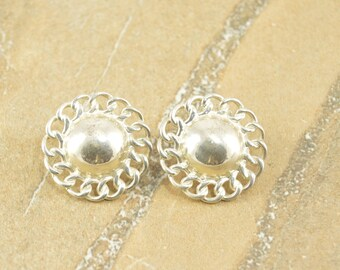 Chain Trim Round Domed Vintage Style Post Back Earrings Sterling Silver 7.8g