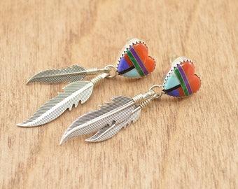 Southwestern Multi-Stone Heart Drop Post Earrings Sterling Silver 4.6g