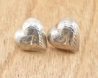 Vintage Heart Post Earrings Sterling Silver 3.6g