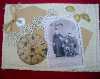 All in the Family Fabric postcard, greeting card, all occasion card