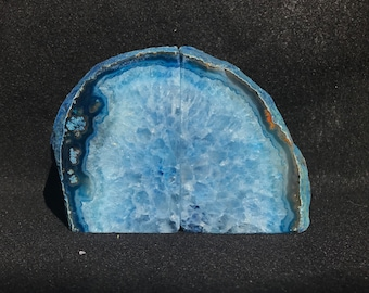 Blue Agate Geode Bookends