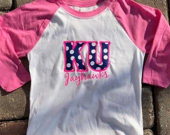 KU Girls Baseball Tee