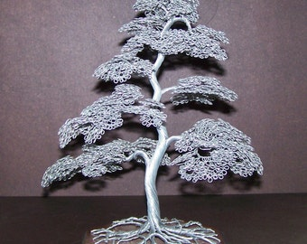 Moyogi Style Wire Tree Sculpture (Silver)