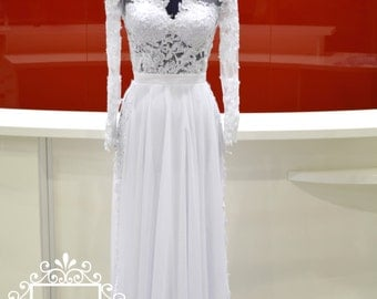 Wedding Dress/Lace Chiffon Slit Long Sleeves V Back Bridal Dress/Long Sleeves V Neckline Chiffon Wedding Dress