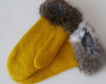 SALE!!! Felted - wool mittens - Rabbitt fur - Natural Sheep wool - Handmade - Yellow accessorie - Eco friendly - 50% off