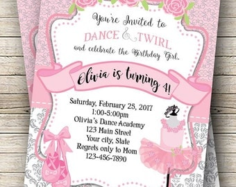 Ballerina Birthday Digital Invitation