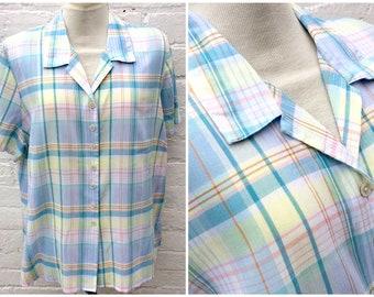 Pastel shirt, vintage summer check blouse, women's festival fashion