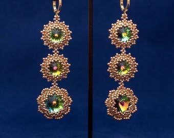 Long earrings, Swarovski crystal earrings, Beaded earrings, silver earrings, women's earrings, gift for wife, best friend earrings