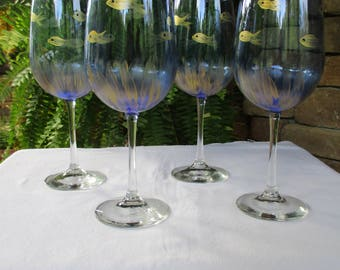 Hand Painted Wine Glasses, Fish, Blue Wine Glasses